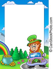 Frame with leprechaun driving car - color illustration.