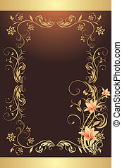 Frame with lilies. Pattern for design of decorative...