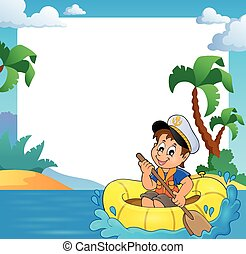 Frame with little sailor in boat