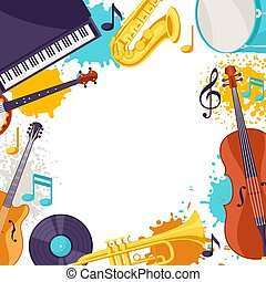Frame with musical instruments. Jazz music festival background