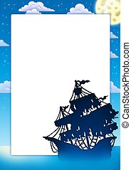 Frame with mysterious ship silhouette - color illustration.