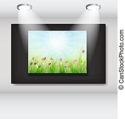Frame with natural floral background in art gallery. vector illustration