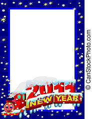 Frame with New Year Train