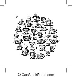 Frame with ornate mugs. Sketch for your design