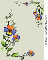 Frame with pansies, vector