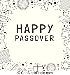 Frame with Passover holiday flat design black thin line...
