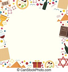 Frame with Passover holiday flat design icons. Template with...