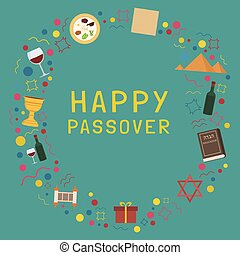 Frame with Passover holiday flat design icons with text in...