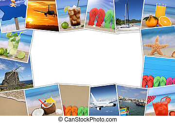 Frame with photos from summer vacation, beach, holiday and copyspace