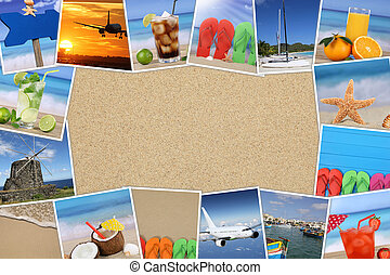 Frame with photos from summer vacation, sand, beach, holiday and copyspace