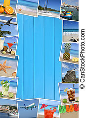 Frame with photos from summer vacation, sun, beach, holiday and sea