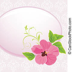 Frame with pink flower