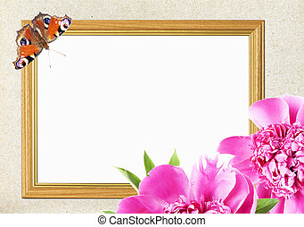frame with pink peony flower and butterfly