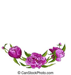 Frame with pink pionies, leaves, buds. Flower frame. Floral motif border. Idea for event invitation, greeting card, cover, postcard, poster, banner. Editable template for wedding design. Vector illustration