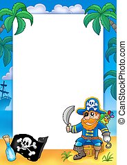 Frame with pirate 1 - color illustration.
