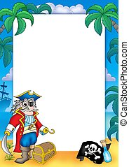 Frame with pirate 3 - color illustration.