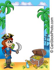 Frame with pirate girl and treasure 2 - color illustration.