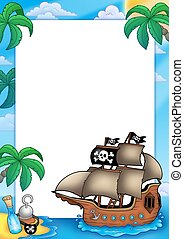 Frame with pirate ship - color illustration.