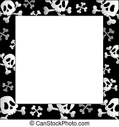 Frame with pirate skulls and bones - vector illustration.