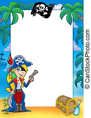 Frame with pirate woman 1 - color illustration.