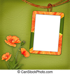 Frame with poppies for photo on the abstract background