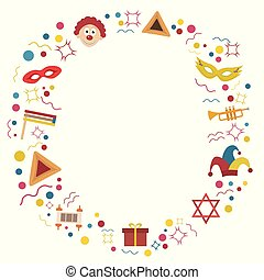 Frame with purim holiday flat design icons. Template with...