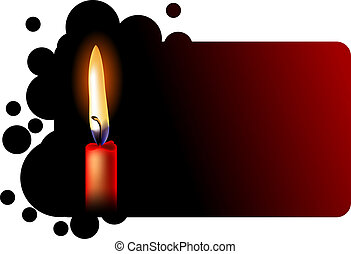 Frame with realistic red candle on black background