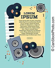 Frame with records, piano keys, speaker and notes for your design. Vector