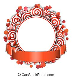 Frame with red and white  candies.