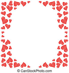 frame with red hearts on white
