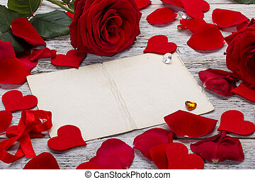 Frame with red roses