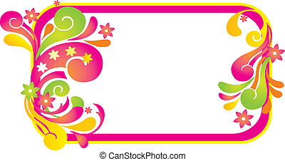 Frame with retro floral elements