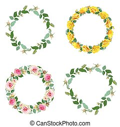 Frame with rose. Set of round floral borders.