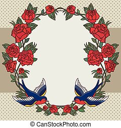 frame with roses and birds