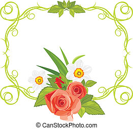 Frame with roses and daffodils