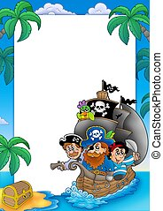 Frame with sailboat and pirates