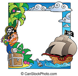 Frame with sea and pirate theme 2