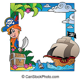 Frame with sea and pirate theme 3