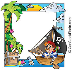 Frame with sea and pirate theme 5