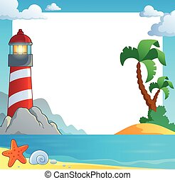 Frame with sea coast and lighthouse - eps10 vector ...