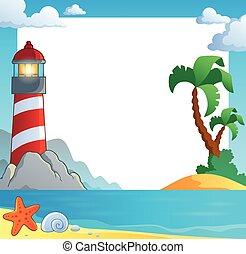 Frame with sea coast and lighthouse - eps10 vector...