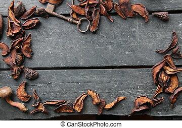 Frame with seasonal ingredients. Autumn Still Life.