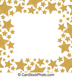 Frame with shimmer stars. Gold sparkle frame of star. Yellow confetti.