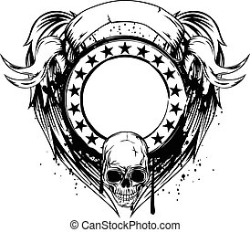 frame with skull - Vector illustration skull and frame with ...