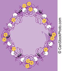 frame with skulls and flowers