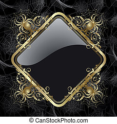 Frame with spider - Gold-framed with gold spider and web on ...