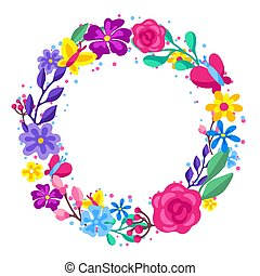Frame with spring flowers. Beautiful decorative natural plants.
