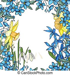 Frame with spring flowers daffodils and and small blue flowers.
