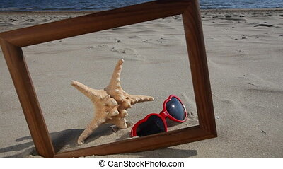 Frame with starfish sunglasses