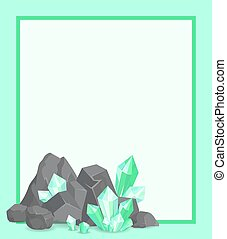 Frame with Stone and Emeralds Vector Poster Border